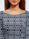 Платье из плотной ткани с принтом oodji #SECTION_NAME# (синий), 14001150-4/33038/1079E - вид 4