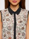 Блузка с контрастной отделкой oodji для женщины (белый), 11403158-9/15018/1245E
