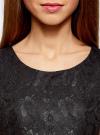 Платье трикотажное кружевное oodji для женщины (черный), 14001154/42644/2900L - вид 4