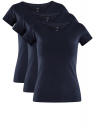 Комплект из трех базовых футболок oodji для женщины (синий), 14701008T3/46154/7900N