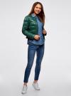Куртка стеганая с круглым вырезом oodji #SECTION_NAME# (зеленый), 10203050-2B/33445/6900N - вид 6
