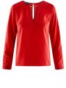 Блузка с вырезом-капелькой и металлическим декором oodji #SECTION_NAME# (красный), 21400396/38580/4500N