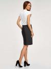Платье комбинированное с вышивкой oodji #SECTION_NAME# (белый), 12C12001-1/42250/1029B - вид 3