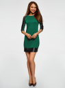 Платье с отделкой из искусственной кожи oodji для женщины (зеленый), 14001143-4B/46944/6E01B