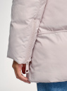 Куртка стеганая с объемным воротником oodji для женщины (бежевый), 10200079/45913/3300N