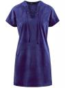 Платье из искусственной замши с завязками oodji для женщины (синий), 18L00001/45778/7500N
