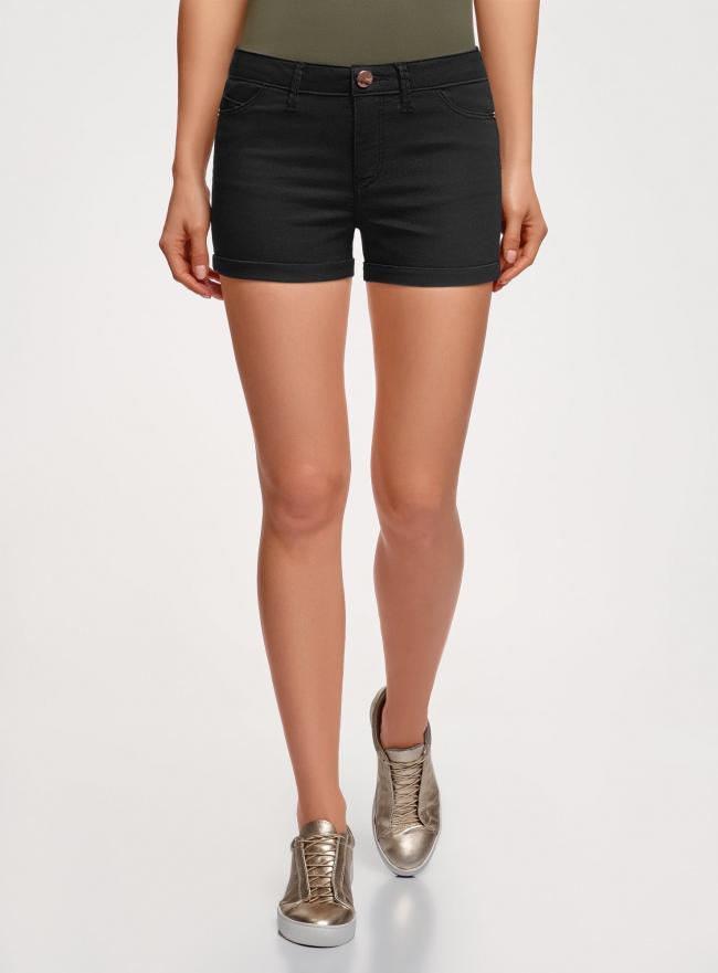 Шорты джинсовые стретч с отворотами oodji для женщины (черный), 12807082B/45491/2900W