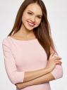 Футболка базовая с рукавом 3/4 oodji для женщины (розовый), 24211001B/45297/4003N