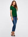 Блузка с коротким рукавом и контрастной отделкой oodji #SECTION_NAME# (зеленый), 11401254/42405/6E29B - вид 6