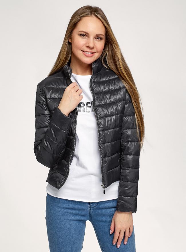 Куртка стеганая с воротником-стойкой oodji для женщины (черный), 10203096/33445/2900N
