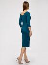 Платье облегающее с вырезом-лодочкой oodji #SECTION_NAME# (зеленый), 14017001/42376/6C01N - вид 3