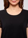 Платье А-образного силуэта со вставкой из декоративной ткани oodji для женщины (черный), 11911010/46076/2900N