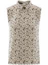Топ базовый из струящейся ткани oodji для женщины (слоновая кость), 14911006B/43414/3329F