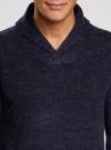 Пуловер фактурной вязки с отложным воротником oodji #SECTION_NAME# (синий), 4L210006M/25700N/7900M - вид 4