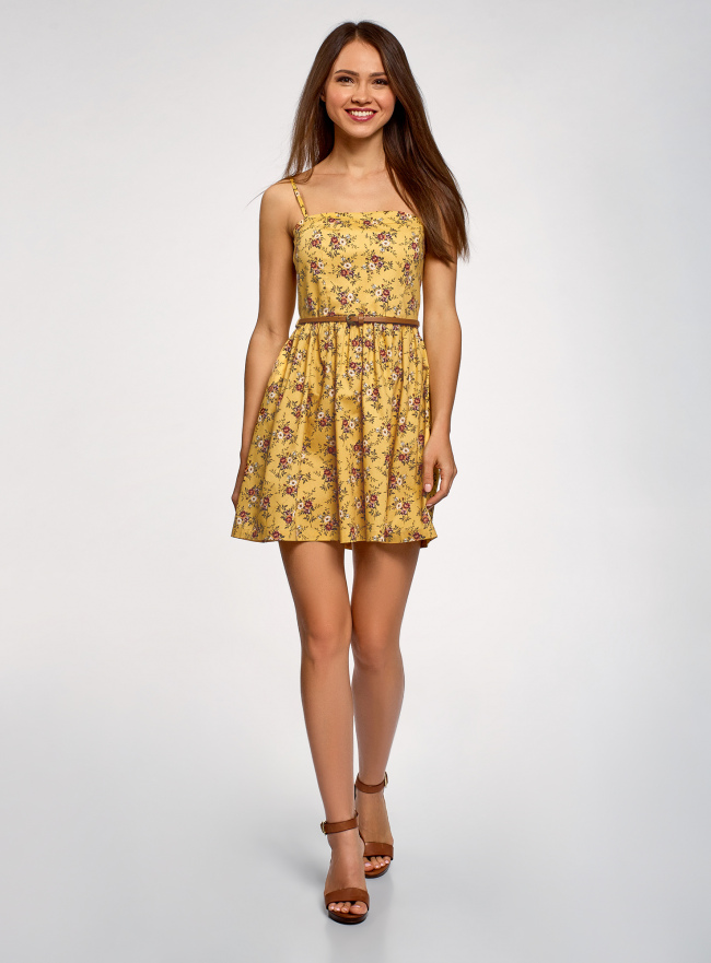 Платье-бандо из хлопка oodji для женщины (желтый), 11902101-6B/14885/5066F