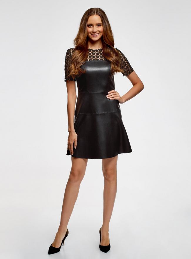 Платье из искусственной кожи с кружевной вставкой oodji для женщины (черный), 18L00003/43578/2900N