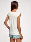 Пижама хлопковая с принтом oodji #SECTION_NAME# (белый), 56002196-5/47969/1266P - вид 3