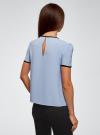 Блузка с коротким рукавом и контрастной отделкой oodji для женщины (синий), 11401254/42405/7029B - вид 3