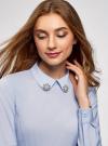 Блузка с баской и декором на воротнике  oodji #SECTION_NAME# (синий), 13K00001-2B/42083/7000N - вид 4