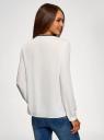 Блузка из струящейся ткани с контрастной отделкой oodji #SECTION_NAME# (белый), 11411059B/43414/1229B - вид 3