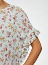 Блузка вискозная свободного силуэта oodji #SECTION_NAME# (зеленый), 11405138/46436/6543F - вид 5
