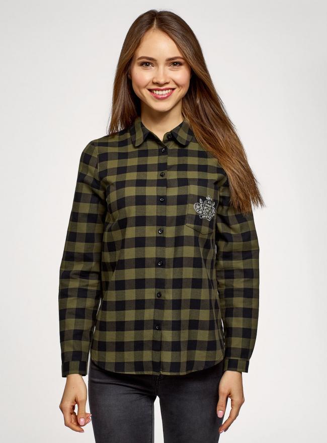Рубашка хлопковая с аппликацией на кармане oodji для женщины (зеленый), 11401266/46975/2966C