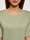 Свитшот из фактурной ткани с коротким рукавом oodji #SECTION_NAME# (зеленый), 24801010-11/46432/6000N - вид 4