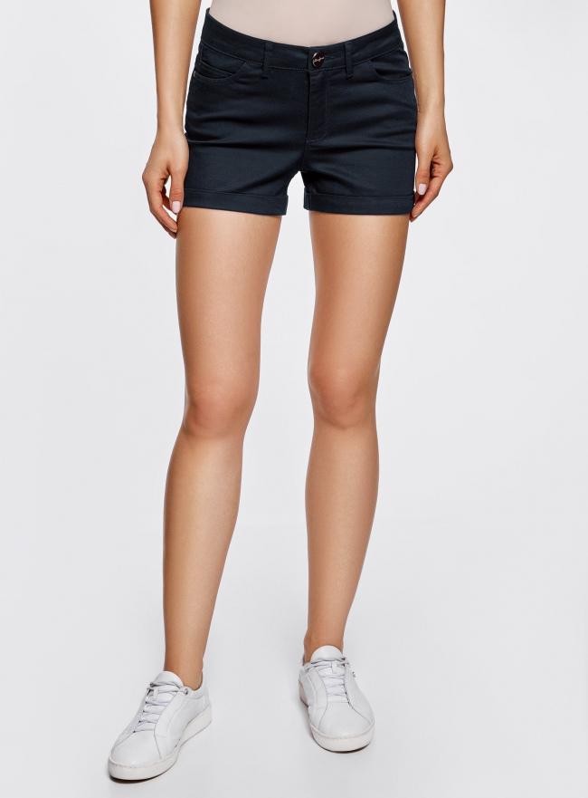 Шорты джинсовые стретч с отворотами oodji для женщины (синий), 12807082B/45491/7900N