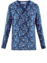 Блузка принтованная из вискозы oodji #SECTION_NAME# (синий), 21412143/42127/7975E