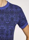 Платье свободного силуэта из фактурной ткани oodji #SECTION_NAME# (синий), 14000162/46155/7529E - вид 5