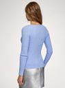 Джемпер вязаный в рубчик oodji для женщины (синий), 63812692/47295/7500M
