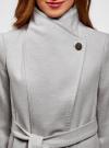 Пальто с поясом и асимметричной застежкой oodji для женщины (серый), 10104041-2/43442/2000M - вид 4