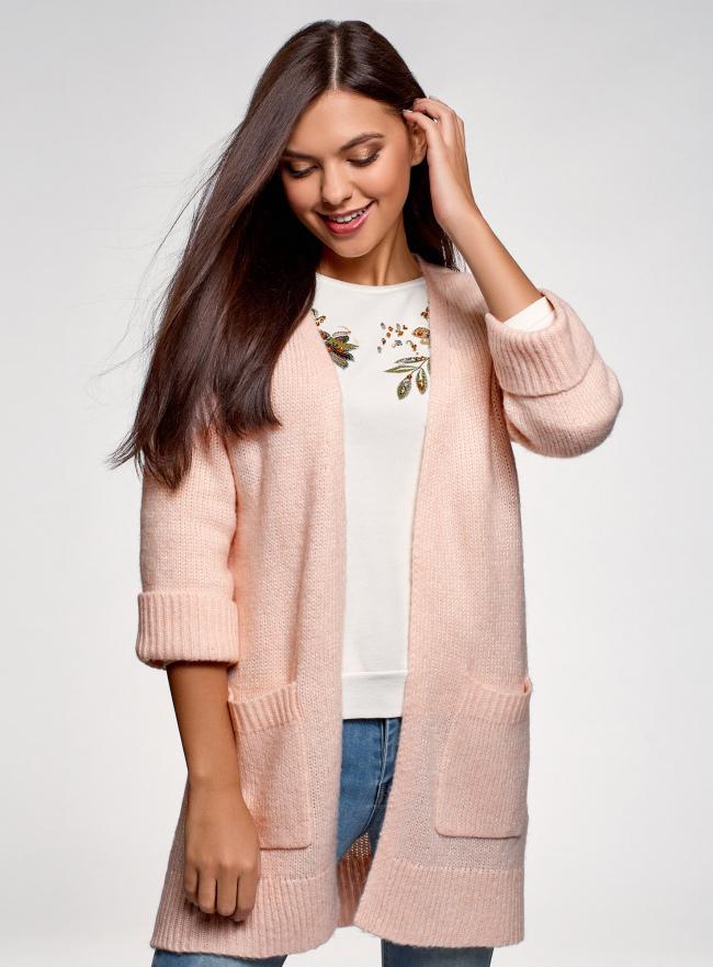 Кардиган без застежки с накладными карманами oodji для женщины (розовый), 63203131/48518/4000M