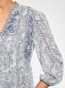 Блузка свободного силуэта с этническим орнаментом oodji для женщины (белый), 11400440/17358/1073E