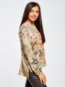 Блузка свободного силуэта с цветочным принтом oodji #SECTION_NAME# (бежевый), 21411109/46038/3319F - вид 2