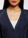 Кардиган фактурной вязки на пуговицах oodji для женщины (синий), 63207189/19904/7900N