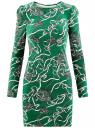 Платье трикотажное облегающего силуэта oodji #SECTION_NAME# (зеленый), 14000171/46148/6223O