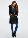 Пальто утепленное с ремнем oodji #SECTION_NAME# (черный), 20204055/45934/2900N - вид 6