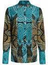 Блузка свободного силуэта с декоративными отстрочками на груди oodji #SECTION_NAME# (бирюзовый), 21411110/42549/7333E