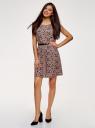 Платье принтованное из вискозы oodji #SECTION_NAME# (розовый), 11910073-2/45470/4B29F - вид 6