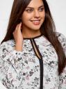 Блузка из струящейся ткани с контрастной отделкой oodji #SECTION_NAME# (белый), 11411059/43414/124AU - вид 4