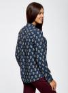 Блузка принтованная из вискозы с воротником-стойкой oodji #SECTION_NAME# (синий), 21411063-1/26346/7535E - вид 3