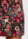 Юбка-трапеция с цветочным принтом oodji для женщины (черный), 11600427/42250/2945F
