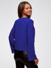 Блузка с бантом и рукавом-колоколом oodji #SECTION_NAME# (синий), 11401256/45994/7500N - вид 3