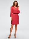 Платье вискозное с ремнем oodji #SECTION_NAME# (розовый), 11900180B/42540/4D01N - вид 6