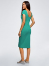 Платье миди с вырезом на спине oodji #SECTION_NAME# (зеленый), 24001104-5B/47420/6D00N - вид 3