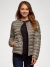 Куртка стеганая с круглым вырезом oodji #SECTION_NAME# (бежевый), 10204040-1B/42257/3329A - вид 2