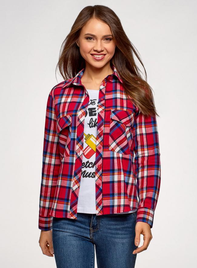 Рубашка с нагрудными карманами oodji #SECTION_NAME# (красный), 13L11006-1B/42850/4575C