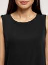 Топ прямого силуэта с круглым вырезом oodji #SECTION_NAME# (черный), 14911014/48728/2900N - вид 4