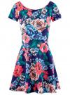 Платье приталенное с V-образным вырезом на спине oodji #SECTION_NAME# (разноцветный), 14011034B/42588/7945F
